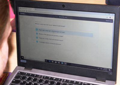 Online test being displayed on laptop